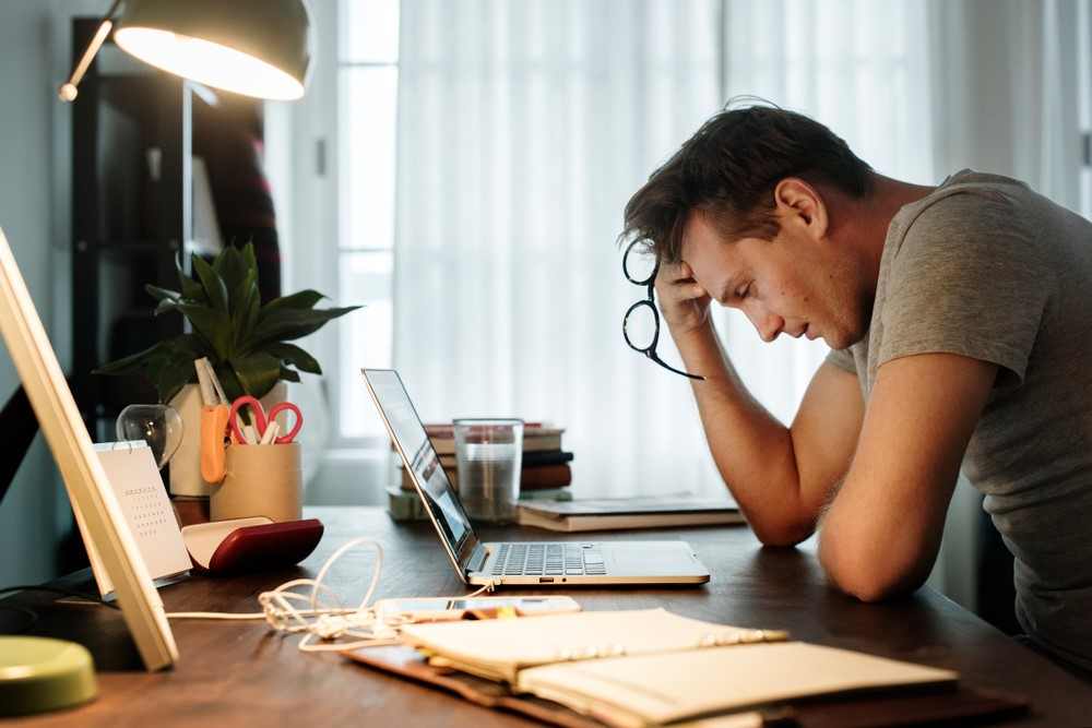 Man Stressed at Work